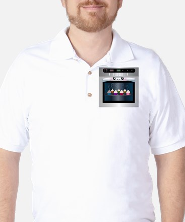 Cute Happy Oven with cupcakes Golf Shirt