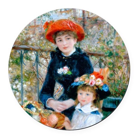 Renoir - Two Sisters Round Car Magnet