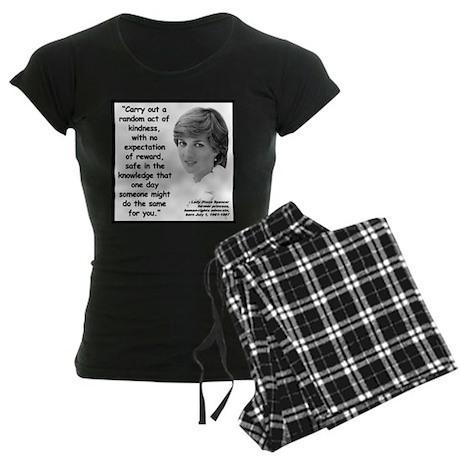 Diana Kindness Quote 2 Women's Dark Pajamas
