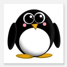 "Adorable Penguin Square Car Magnet 3"" x 3&quo"