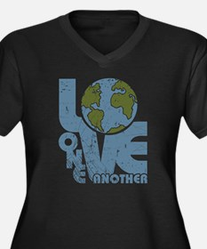 Love One Another Women's Plus Size V-Neck Dark T-S