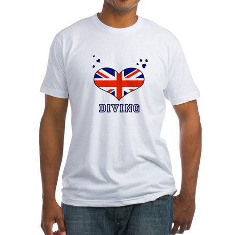 I LOVE DIVING,UNION JACK Fitted T-Shirt