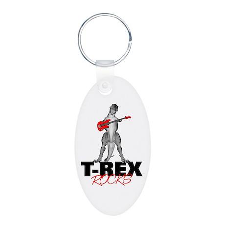 Tyrannosaurus Rex Rocks Aluminum Oval Keychain