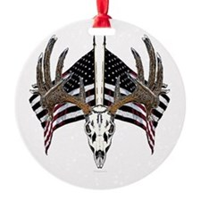 Whitetail, USA flag Ornament