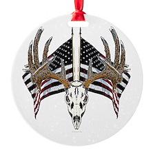 Whitetail, USA flag Round Ornament