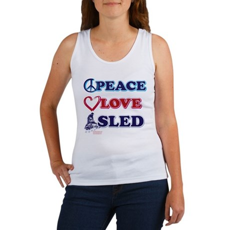 Snowmobiling/Peace,Love,Sled Women's Tank Top