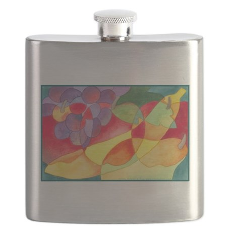 Fruit Montage Watercolor Flask
