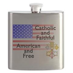 Catholic and Faithful American and Free Flask
