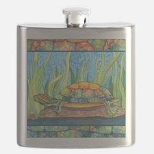 Turtle Tie Dye Watercolor Flask