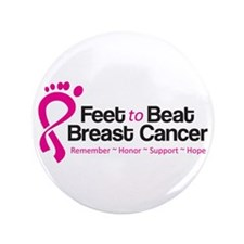 """Feet to Beat Breast Cancer 3.5"""" Button (10 pa"""