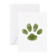 Forest Green Painted Paw Greeting Cards