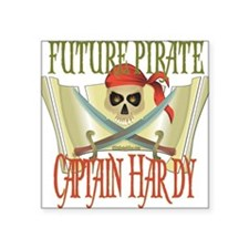 "PirateHardy.png Square Sticker 3"" x 3"""