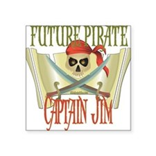 "PirateJIM.png Square Sticker 3"" x 3"""