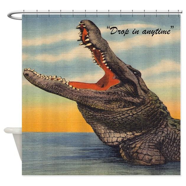Vintage Alligator Postcard Shower Curtain By Rebeccakorpita