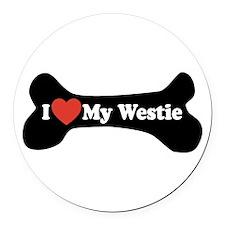 I Love My Westie - Dog Bone Round Car Magnet