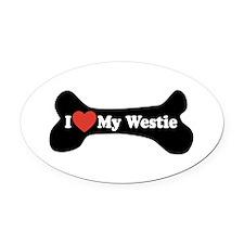 I Love My Westie - Dog Bone Oval Car Magnet