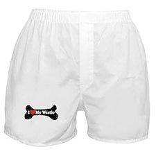 I Love My Westie - Dog Bone Boxer Shorts