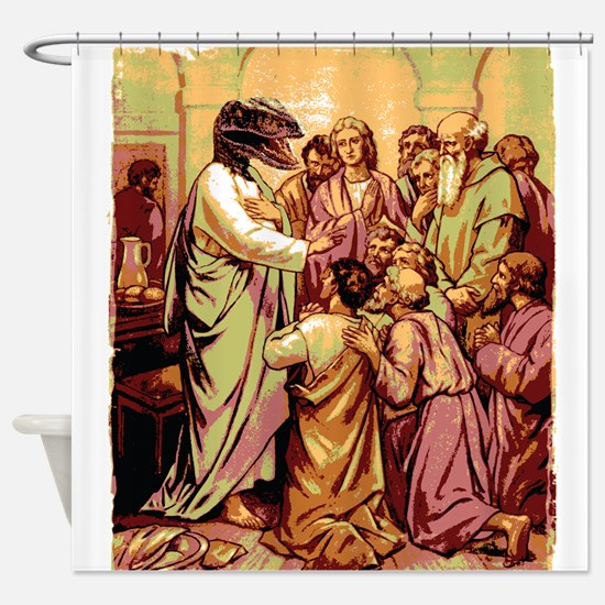 Jesus Raptor Shower Curtain