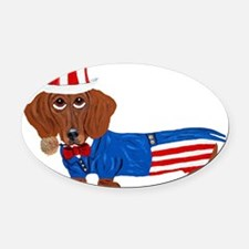 Dachshund In Uncle Sam Suit Oval Car Magnet