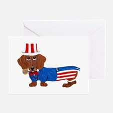 Dachshund In Uncle Sam Suit Greeting Card