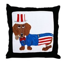 Dachshund In Uncle Sam Suit Throw Pillow