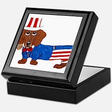 Dachshund In Uncle Sam Suit Keepsake Box
