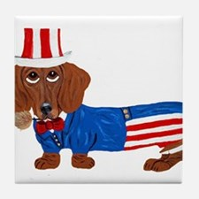 Dachshund In Uncle Sam Suit Tile Coaster