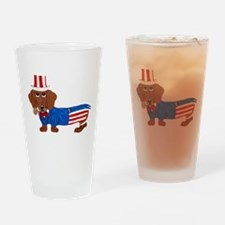 Dachshund In Uncle Sam Suit Drinking Glass