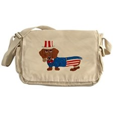 Dachshund In Uncle Sam Suit Messenger Bag