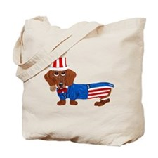 Dachshund In Uncle Sam Suit Tote Bag