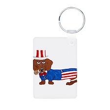 Dachshund In Uncle Sam Suit Keychains
