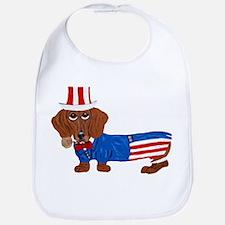 Dachshund In Uncle Sam Suit Bib