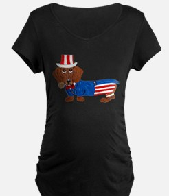 Dachshund In Uncle Sam Suit T-Shirt