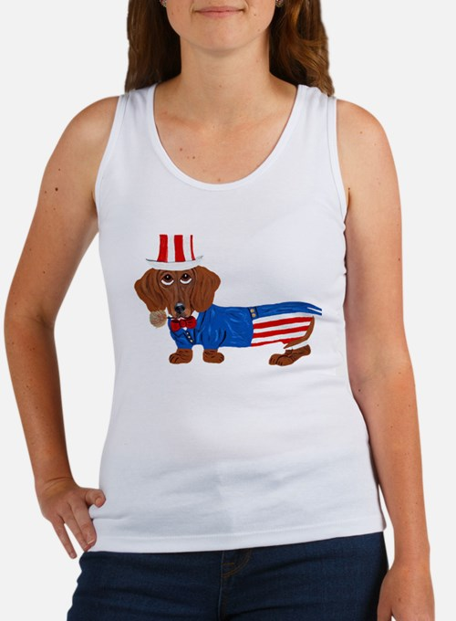 Dachshund In Uncle Sam Suit Women's Tank Top