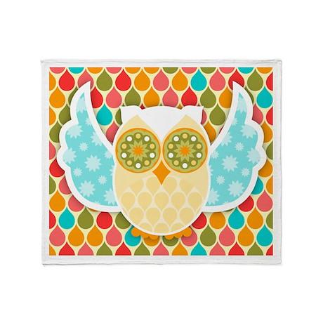 Owl Boheme White Throw Blanket