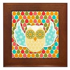 Owl Boheme White Framed Tile