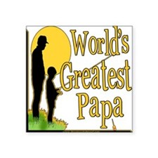"FishingGreatestpapa copy.png Square Sticker 3"" x 3"