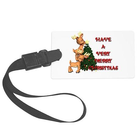 10x10_apparel reindeer tree .jpg Large Luggage Tag