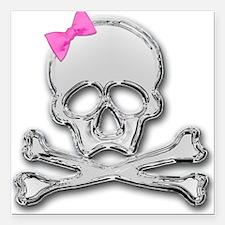 "Skull chrome bow 2 Square Car Magnet 3"" x 3"""