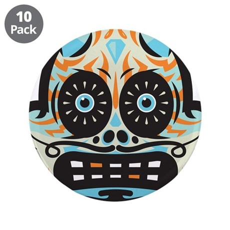 "Sugar Skull 3.5"" Button (10 pack)"