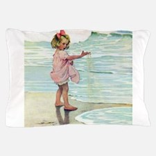 Child at the beach Pillow Case