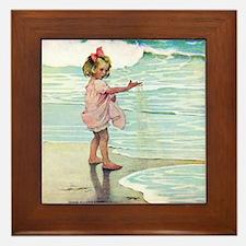 Child at the beach Framed Tile