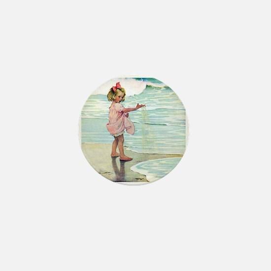 Child at the beach Mini Button