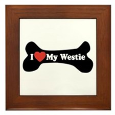 I Love My Westie - Dog Bone Framed Tile
