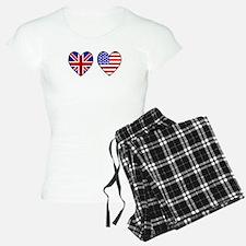 USA UK Hearts on White Pajamas