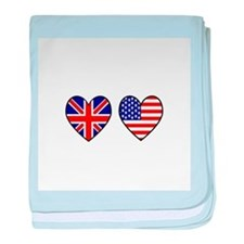 USA UK Hearts on White baby blanket