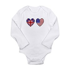 USA UK Hearts on White Long Sleeve Infant Bodysuit