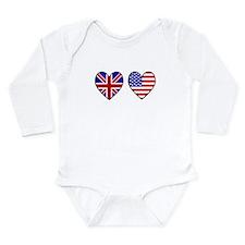 USA UK Hearts on White Onesie Romper Suit