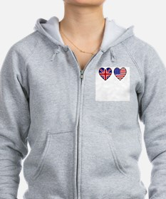 USA UK Hearts on White Zip Hoodie