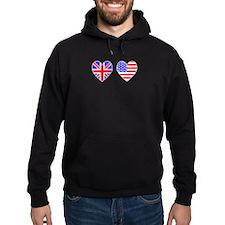 USA UK Hearts on White Hoodie